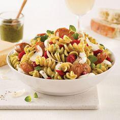 Rotinis aux saucisses, pesto et bocconcinis Fusilli, Bacon, Cheddar, Sauce, Pasta Salad, Pasta Recipes, Salads, Instructions, Ethnic Recipes