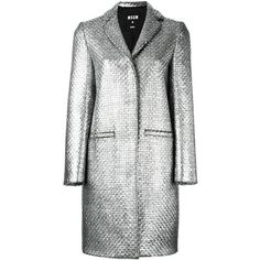 MSGM woven single breasted coat (2,065 ILS) ❤ liked on Polyvore featuring outerwear, coats, grey, single-breasted trench coats, metallic coat, msgm, pattern coat and grey coat