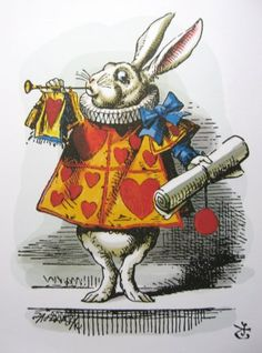 The White Rabbit as herald, Sir John Tenniel's illustration for Alice in Wonderland, Lewis Carroll. Alice In Wonderland Illustrations, Alice In Wonderland Characters, Alice In Wonderland Pictures, Alice In Wonderland Original, John Tenniel, Garden Illustration, Super Cat, Textiles, Adventures In Wonderland