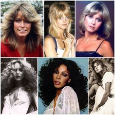 70s hairstyles: Farrah Fawcett, Goldie Hawn, Olivia Newton John, Jerry Hall, Donna Summer, Julie Christie