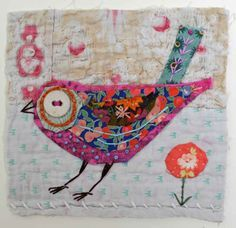 Bird. Unframed applique with embroidery on to by MandyPattullo