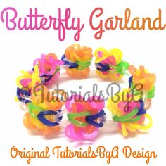 Original Butterfly Garland Rainbow Loom Bracelet Video Tutorial by TutorialsByA's so kawaii!!!!