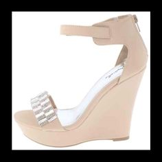 """Nude wedge sz 9 (run big fit true 9.5) Very pretty embellished wedge. Color is called """"nude"""" brand new in box. Size 9 (run big and fit true 9.5). 5.5"""" wedge very nice quality Shoes Wedges"""