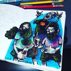 caricaturas. tinta y lápices.