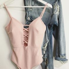 Pastel pink crisscross deep v open chest body bodysuit  Ripped boyfriend jeans