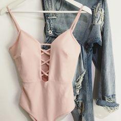 Pastel pink crisscross deep v open chest body bodysuit  Ripped boyfriend jeans