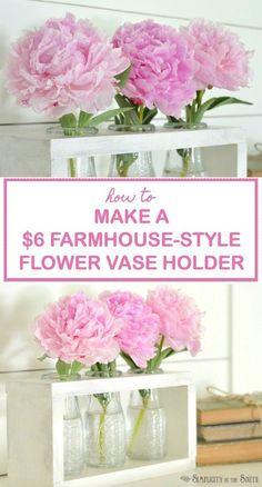 $6 Dollar Tree Craft: DIY Farmhouse Style Vase Holder