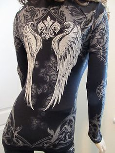 Vocal Scrolls Wings Crystals Stones Bling Tattoo Western Sexy Biker Tee Shirt on eBay!