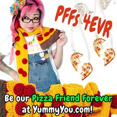 The Pizza Scarf and the BFF Pizza Heart Necklaces (created in collaboration with Fatally Feminine Designs) are some of the newest additions to the Yummy You! family. :)  http://www.yummyyouclothing.com/catalogsearch/result/?q=pizza