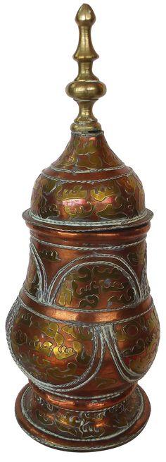 Brass & Copper Lidded Vessel