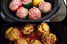 Stuffed peppers is one of the best side dishes I've ever had. Especially when it's stuffed with rice, meat and cheese! Check out this amazing recipe. You'll Need: 4 green bell peppers. 1 lb of ground beef. ½ cup of cheddar cheese. Crock Pot Slow Cooker, Slow Cooker Recipes, Crockpot Recipes, Cooking Recipes, Easy Recipes, Delicious Recipes, Ninja Recipes, Crock Pots, Crockpot Dishes