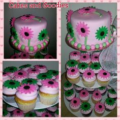 Bridal shower daisies cupcakes and cake