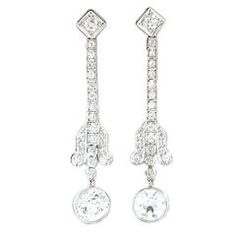 Art Deco Diamond Drop Earrings in Platinum