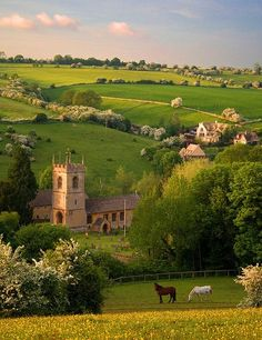 The tranquil Cotswold village of Naunton, showing the Church of St. Andrews. In the Middle Ages, wealthy wool-merchants often paid for the building of large village churches.   http://contentinacottage.blogspot.co.uk/2011/02/st-andrews-church-in-cotswolds-village.html