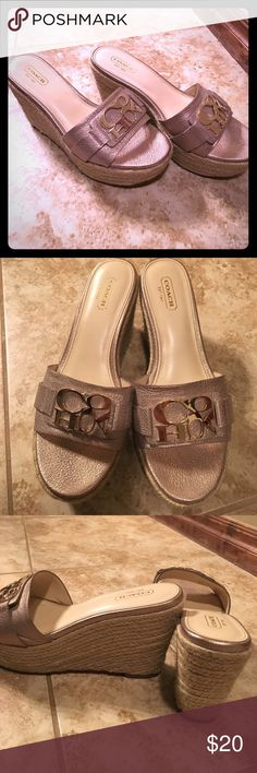 Coach slide platforms Excellent condition, only worn several times, no damage. Leather, very comfortable. Coach Shoes Platforms