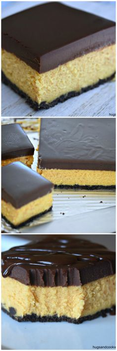 Pumpkin Cheesecake Bars with Ganache - backen - Cake Recipes Pumpkin Cheesecake Bars, Cheesecake Bites, Cheesecake Recipes, Cupcake Recipes, Cupcake Cakes, Dessert Recipes, Pasta Recipes, Brownie Cheesecake, Pumpkin Bars