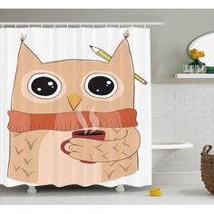 Modern Shower Curtain, Cute Owl with A Cup of Coffee and Scarf Student Midterms Humor Illustration, Fabric Bathroom Set with Hooks, 69W X 70L Inches, Cinnamon Sand Brown, by Ambesonne #bathroomhumor