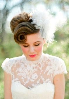Bride's retro finger curl bangs updo bridal hair ideas Toni Kami Wedding Hairstyles ♥ ❷