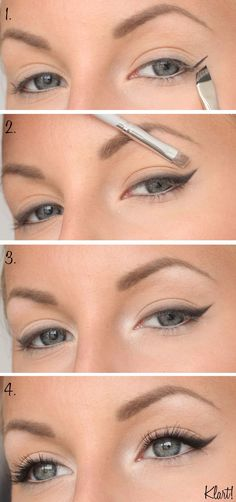 everyday make-up step by step - # everyday # for . - Haar Make-Up - Eye-Makeup Step By Step Eyeliner, Makeup Tutorial Step By Step, Make Up Ideas Step By Step, Smokey Eye Makeup, Skin Makeup, Beauty Makeup, Eyeliner Makeup, Cat Makeup, Eyeliner Tattoo