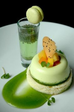 pandan creme brulee...  with tropical fruit and basil seed tuile, over basil gelee and coconut chiffon, sit on basil fluid gel...