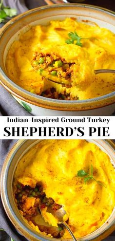 Flavorful and comforting! This Indian-Inspired Ground Turkey Shepherd's Pie is from the new Skinnytaste Meal Prep cookbook. Rich in flavor and low in calories. 271 calories and 6 Weight Watchers SP | Recipe easy | Gluten Free | Recipe healthy | Mashed potatoes #shepherdspie #groundturkey #skinnytaste #weightwatchers #comfortfood #healthydinners