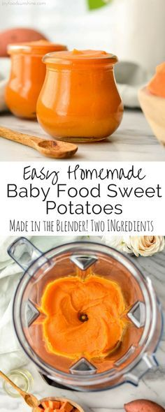Easy Homemade Baby Food Sweet Potatoes! This recipe has only two ingredients, sweet potatoes and water! Making your own baby food is less expensive, tastier, and more nutritious than store-bought varieties!