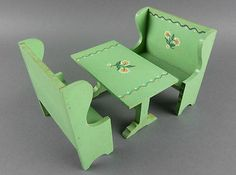 TYNIETOY Vintage Dining Table & Benches Set Painted Green Tynie Toy Dollhouse