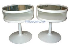 Pair of 1970s Tulip space age side tables by opel, German  http://www.inmyroom.co.uk/tables.html