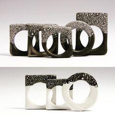 work of French artist Violaine Ulmerii, - rings made of porcelain still manage to portray strength through skilful design. www.violaine-ulmer.com #design #rings #porcelain
