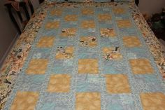 Quilted Throw in beautiful shades of aqua blue and gold. Also has multi colored bird print fabric. It is pieced and quilted. The borders are a beautiful bird print fabric. This throw matches my quilt called Birds on a Wire Overlooking Home. Very nice throw size quilt for your living or bedroom, goes well with shades of light blue and gold, Would make a wonderful gift for a bird lover. This can be made into larger sizes. Please send me a conversation here at etsy to discuss if you would like…