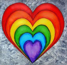 Rainbow Heart On Grey Painting by Tim Shanley Rainbow Heart, Rainbow Pride, Over The Rainbow, Rainbow Painting, Heart Painting, Painting Art, Heart Art, Love Heart, Rainbow Connection