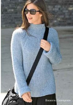 Пуловер покроя реглан с полупатентным узором