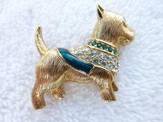Swan signed Swarovski gold tone rhinestone and enamel dog figural brooch N56 #swarovski