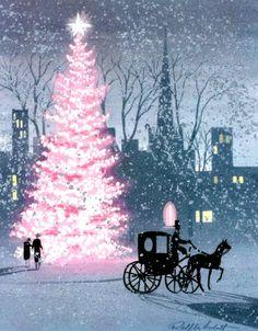 Pink Christmas, illustration Ralph Hulett