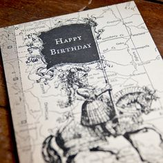 Letterpress Birthday Card  Map Letterpress by PheasantPress