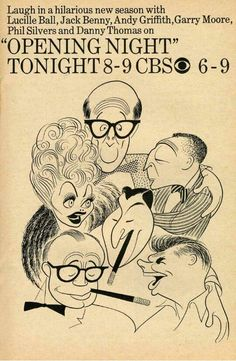 CBS Stars by Al Hirschfeld.  Lucy, Phil Silvers, Garry Moore, Andy Griffith, Jack Benny, & Danny Thomas