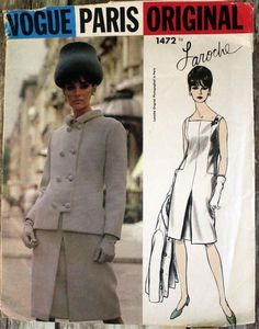 VPO 1472 Laroche Dress & Jacket 1965 Slim, sleeveless dress has square neckline & low waisted seam detail at back and side fronts.Low center front pleat.Longer, semi fitted jacket has double breasted closing, bias collar and bracelet length sleeves. c/c+tag sld 21.99+fr 8/15/17
