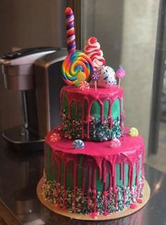 I made my daughter's Birthday cake. I was going for a Vanellope von Schweetz/Wreck-It Ralph theme. Neon Birthday Cakes, Little Girl Birthday Cakes, Birthday Cupcakes, 4th Birthday, Birthday Cakes For Girls, Birthday Cake For Daughter, Birthday Ideas, Torta Candy, Candy Cakes