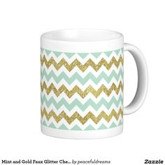 Mint and Gold Faux Glitter Chevron Classic White Coffee Mug