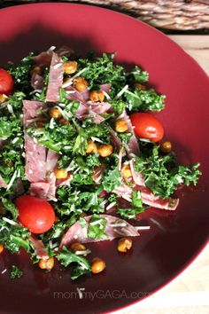 Kale, Salame and Roasted Garbanzo Bean Salad – simple and delicious #recipe