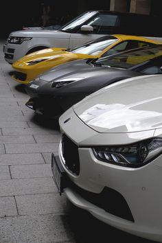 Range Rover Sport, Ferrari 458 Italia, Lamborghini Aventador, and Maserati Ghibli