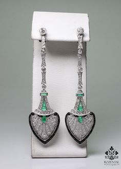 Antique Art Deco Platinum Diamond- Emerald & Onyx Earrings (hva)