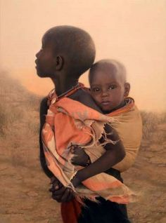 Africa |  Fantastic oil paintings by Nancy Howe entitled Holding On