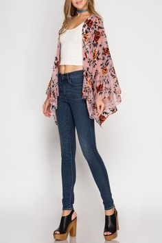 Long sleeve, burn out velvet floral print kimono cardigan. The fabric is sheer and flowy with no natural stretch. #ad #affiliate