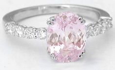 baby pink engagement ring | Enchanting 3.35 ctw Oval Light Pink Sapphire and Diamond Ring in 14k