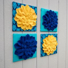 "Flower Wall Decor - Set of Four - Gold Yellow & Royal Blue Dahlia Flower - Silk Turquoise/Blue Background - Wall Hangings 12 x12"" Canvases"