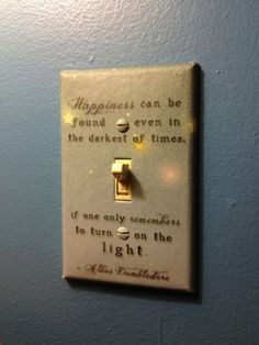 Dumbledore quote on light switch, this has been one of my favorite quotes for a long time, why haven't I thought of this?!