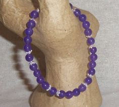 Purple JADE and STERLING SILVER Gemstone Bracelet by PastsPresents, $13.00