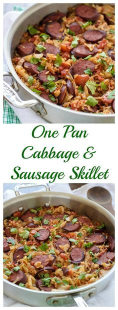 One Pan Cabbage and Sausage Skillet with Rice. Easy, healthy, only one dish! #stpatricksday