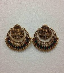 Original Ramleela Earrings look-a-like in Dark Red and Bottle Green Stones. The earrings as shown by Deepika Padukone, famous Bollywood Celebrity. No Pearls.